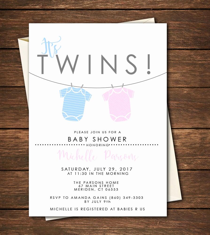 Twin Baby Shower Invitation Ideas Unique Twin Baby Shower Invitations