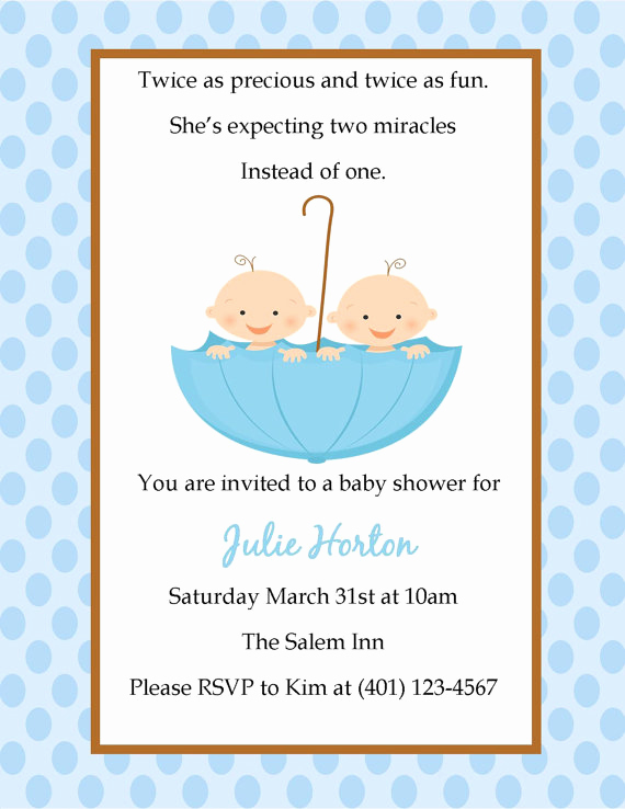 Twin Baby Shower Invitation Wording Awesome Twin Baby Shower Invitation On Luulla
