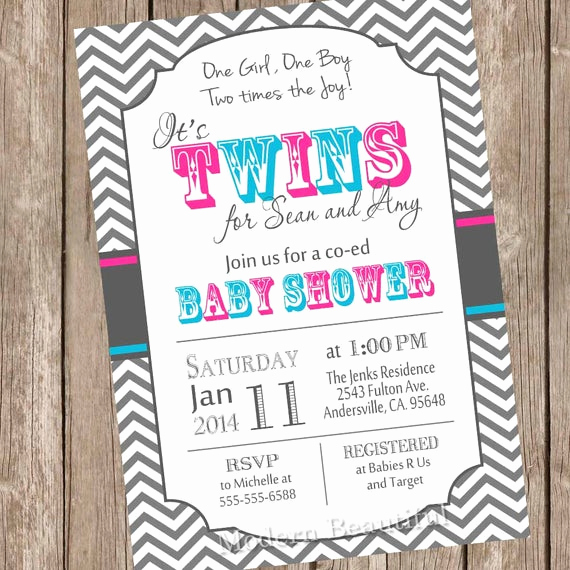 Twin Baby Shower Invitation Wording Awesome Twins Baby Shower Invitation Twin Girl Twin Boy Boy and