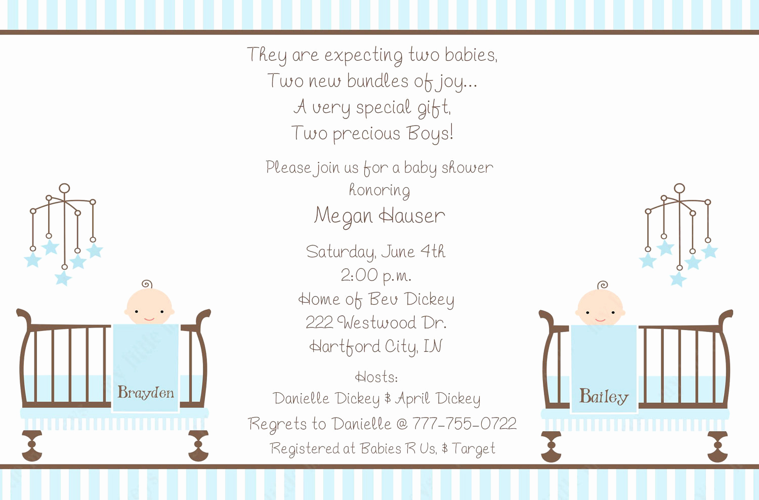 Twin Baby Shower Invitation Wording Beautiful 10 Twin Boy Baby Shower Invitations with Envelopes Free