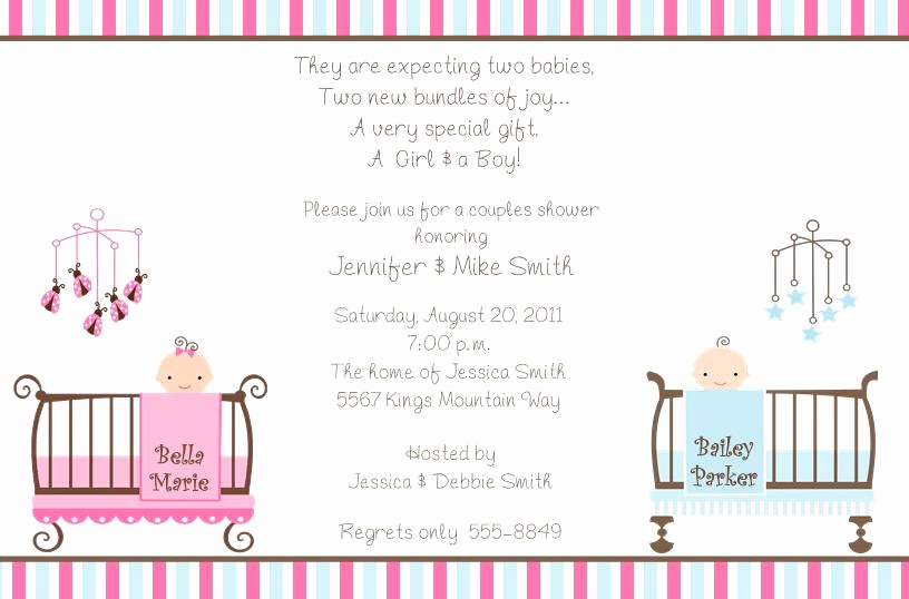 Twin Baby Shower Invitation Wording Beautiful 10 Twins Baby Shower Invitations with Envelopes Free Return