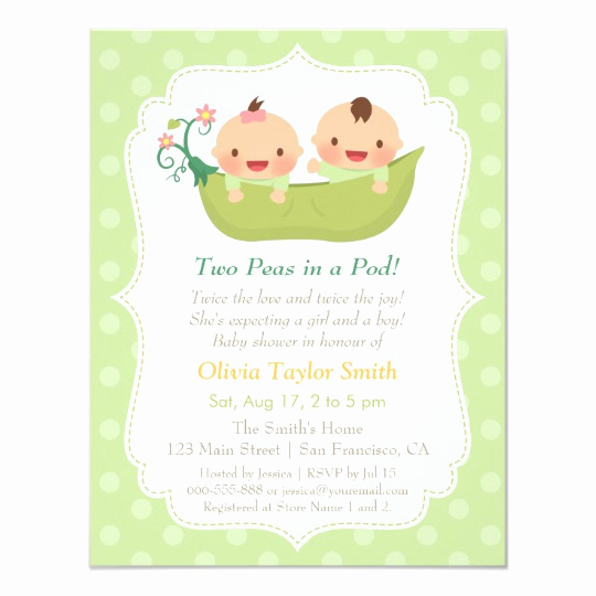 Twin Baby Shower Invitation Wording Beautiful Cute Peas In A Pod Twin Baby Shower Invitations