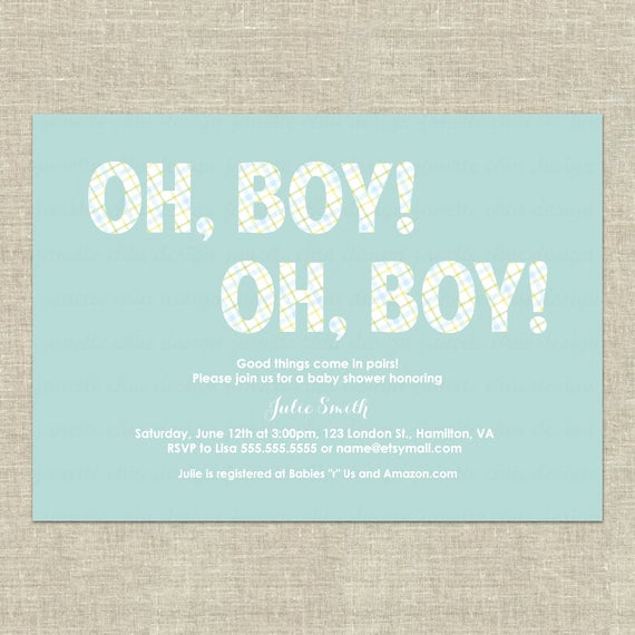 Twin Baby Shower Invitation Wording Beautiful Twin Boys Baby Shower Invitation Digital by Janettechiudesign