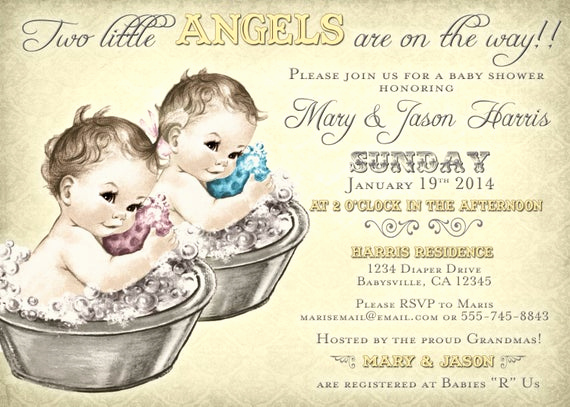 Twin Baby Shower Invitation Wording Elegant Coed Baby Shower Invitation for Twins Vintage Diy