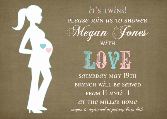 Twin Baby Shower Invitation Wording Lovely Items Similar to Twins Baby Shower Invitation It S