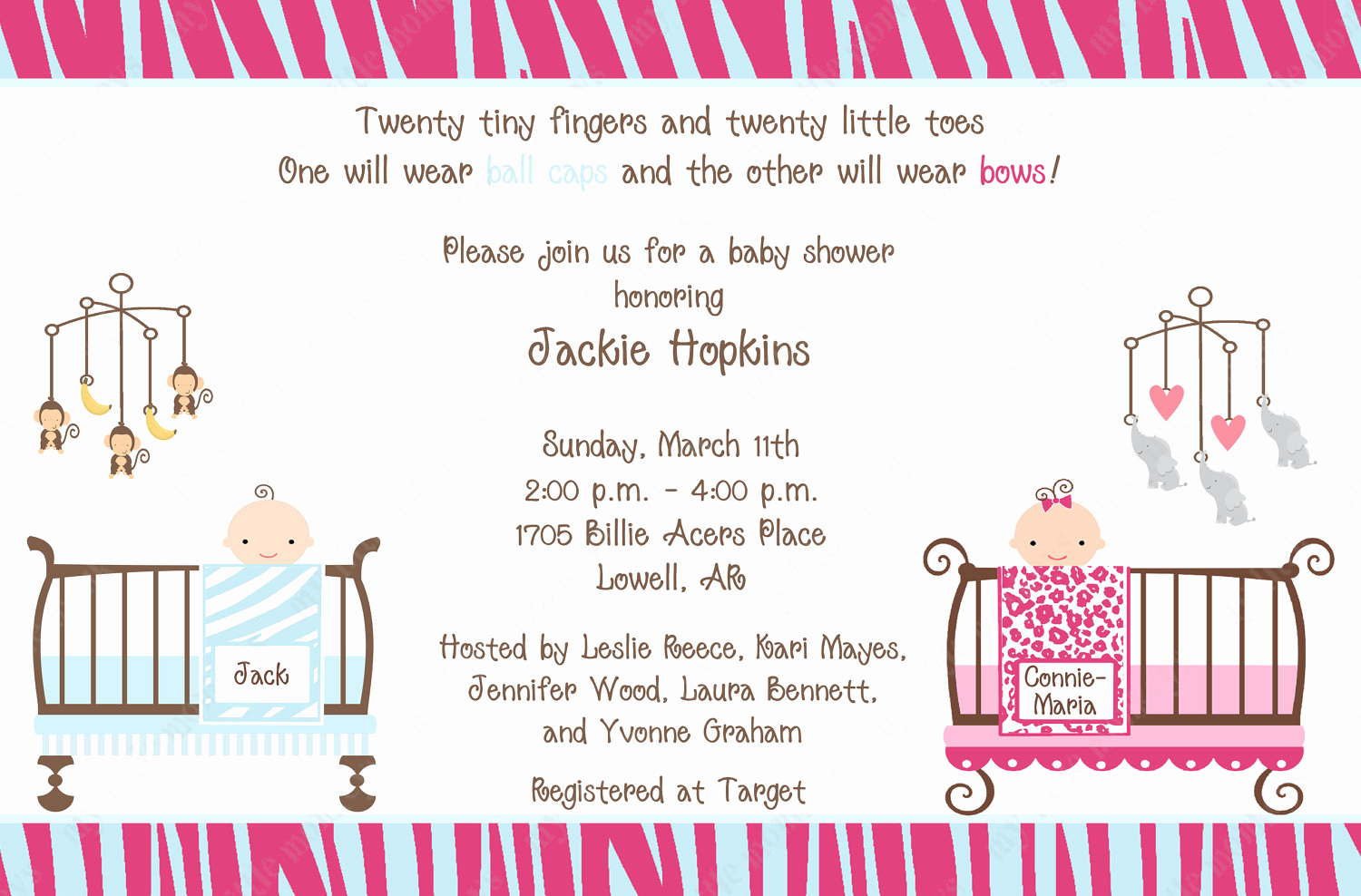 tips for choosing twin baby shower invitation