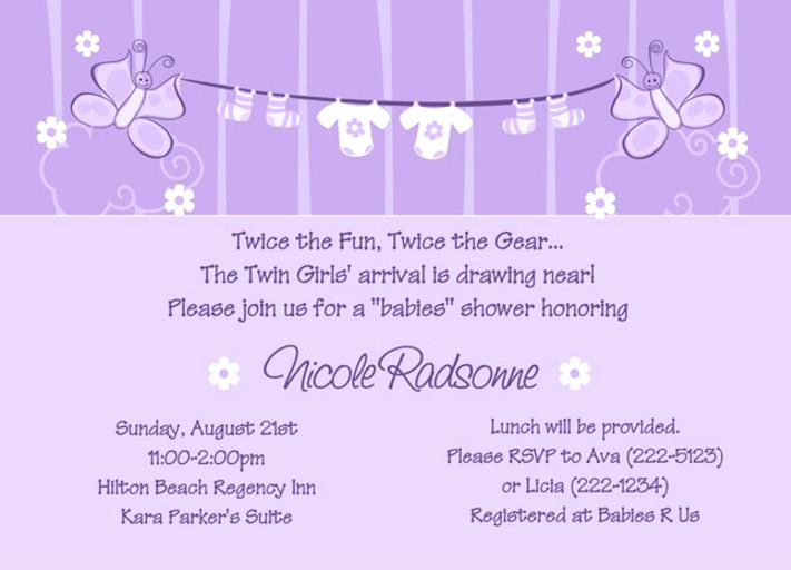Twin Baby Shower Invitation Wording New Lovely Twin Girl Baby Shower Invitation Wording Simple