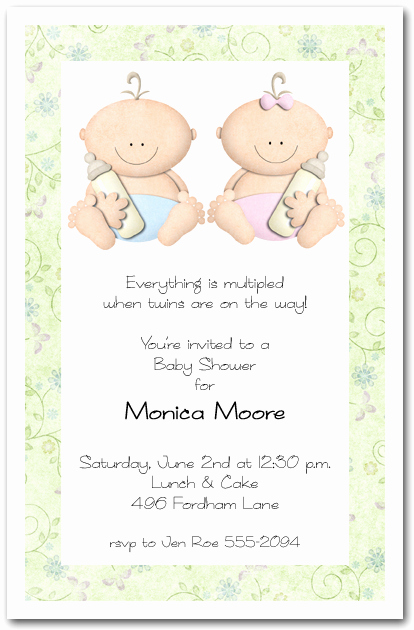 Twin Baby Shower Invitation Wording Unique Babycakes Twin Girl and Boy Baby Shower Invitations