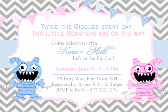 Twin Baby Shower Invitation Wording Unique Monster Baby Shower Invitation Twins Invitation Monster Shower