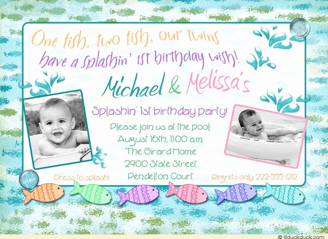 Twins Birthday Invitation Wording Awesome Underwater Splish Splash Birthday Invitation Pool Party