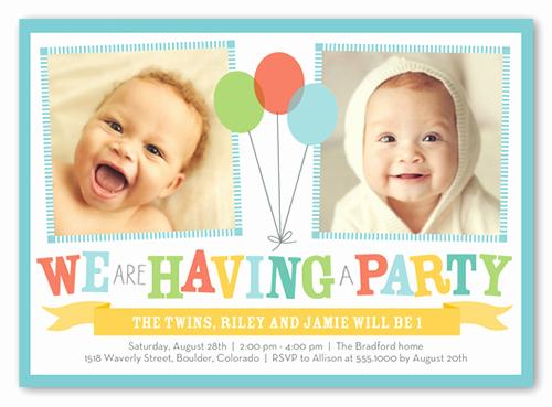 Twins Birthday Invitation Wording Beautiful Bright Balloons Twin Birthday Invitation