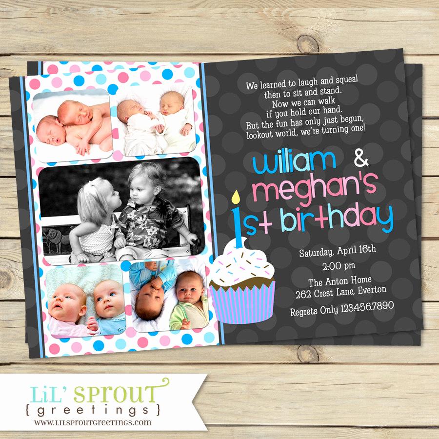 Twins Birthday Invitation Wording Elegant Boy Girl Twin 1st Birthday Invitation Blue Pink Double