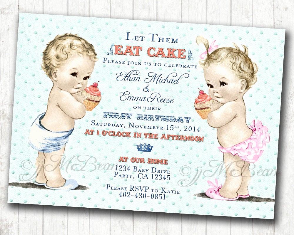Twins Birthday Invitation Wording Fresh Boy Girl Twins First Birthday Invitation for Twins Boy and