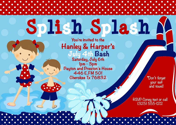 Twins Birthday Invitation Wording Inspirational 4th Of July Pool Party Invitations Twins Siblings