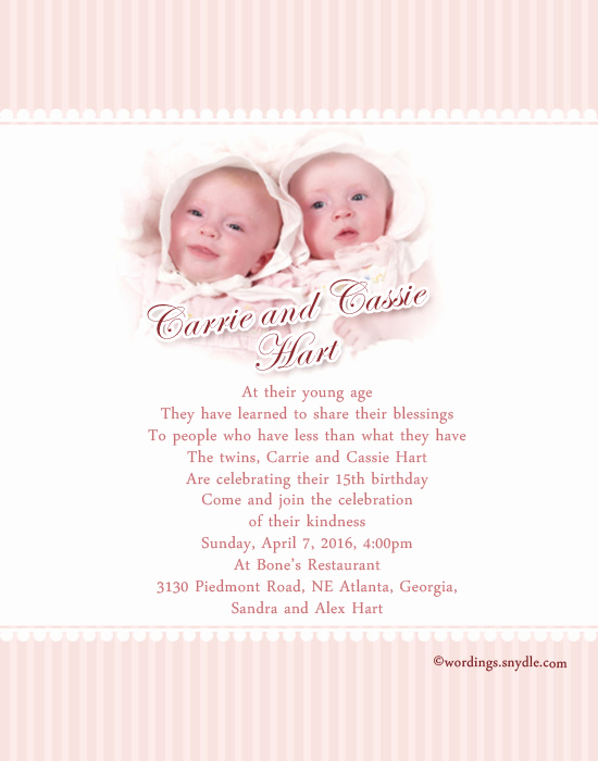 Twins Birthday Invitation Wording Lovely Twins 1st Birthday Invitation Wording Samples