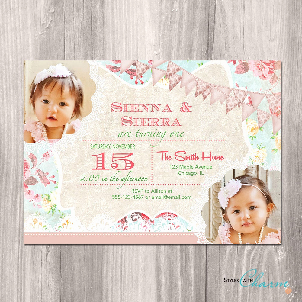 Twins Birthday Invitation Wording Lovely Twins Birthday Invitation Twin Girls Birthday Invitation