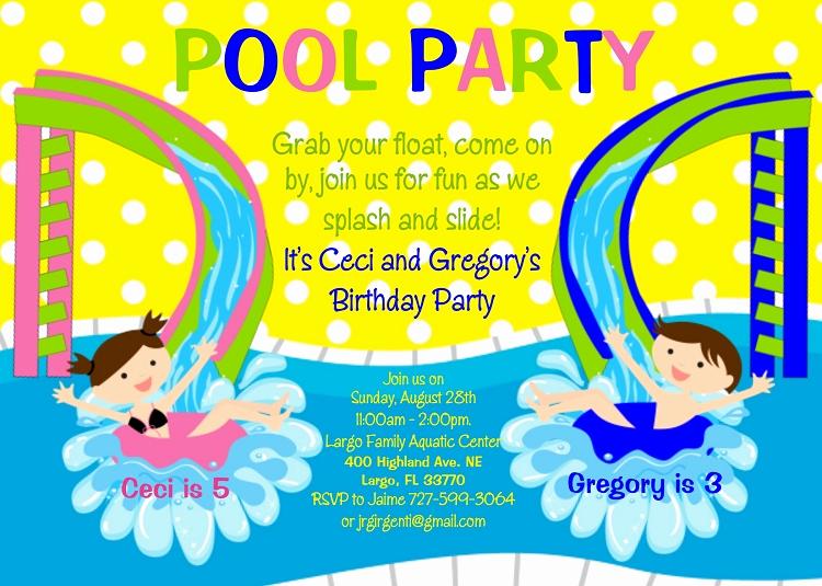 Twins Birthday Invitation Wording Luxury Pool Party Water Slide Birthday Invitation for Twins or