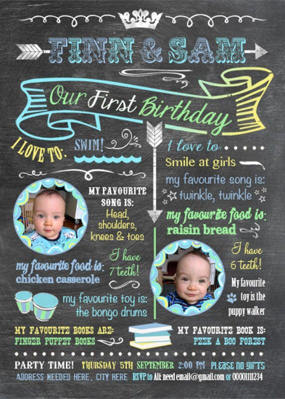 Twins Birthday Invitation Wording Luxury Printable Twins Firsts Birthday Invitation Chalkboard