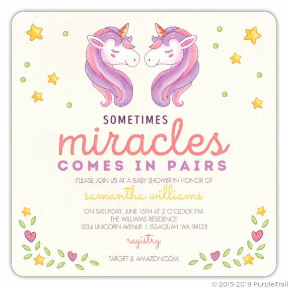 Twins Birthday Invitation Wording Luxury Unicorn Party Invitations Ideas and More