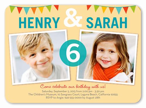 Twins Birthday Invitation Wording New Fancy Monogram Cream 5x7 Invitation