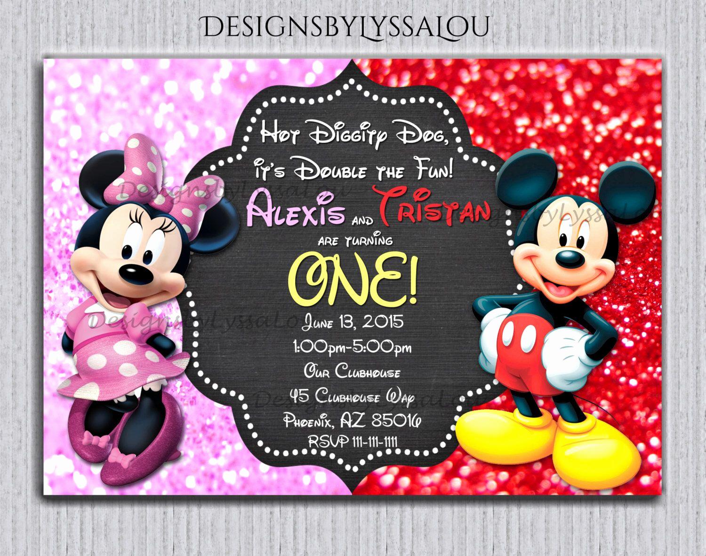 Twins Birthday Invitation Wording New Mickey and Minnie Twin Birthday Invitation Twin