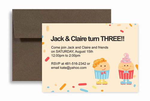 Twins Birthday Invitation Wording New Twin Cake Candy Party Birthday Invitation Wording 7x5 In