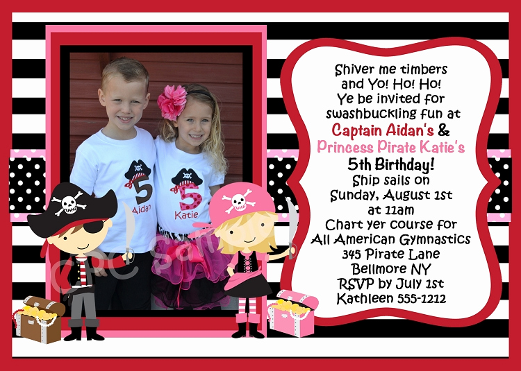 Twins Birthday Invitation Wording New Twins Pirate Birthday Invitation Printable or Printed