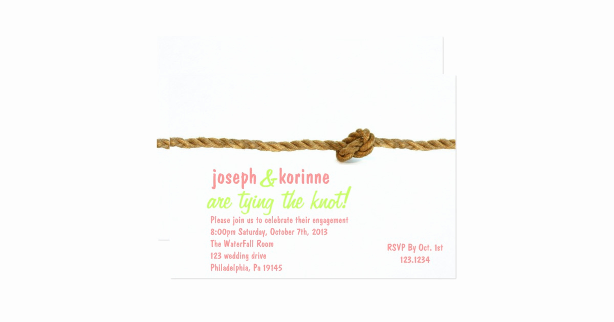 Tying the Knot Invitation Best Of Tying the Knot Engagement Party Invitation