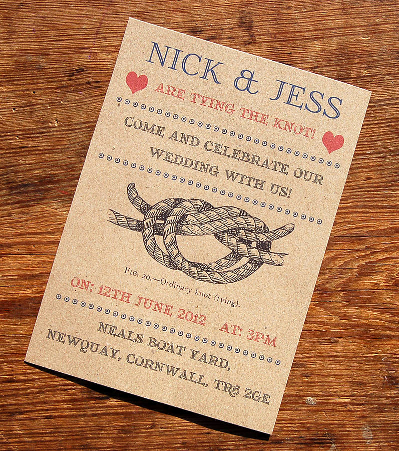 Tying the Knot Invitation Elegant Vintage Seaside Wedding Stationery Range by A Bird & A Bee