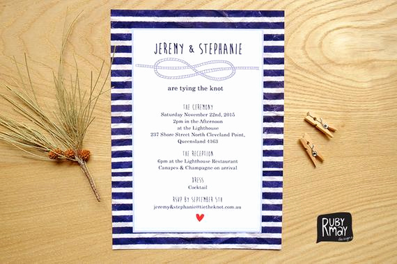 Tying the Knot Wedding Invitation Beautiful Items Similar to Nautical Wedding Invitation Tie the Knot