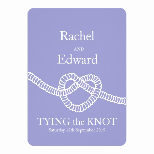 Tying the Knot Wedding Invitation Best Of Heart Tie the Knot Wedding Purple White Invitation