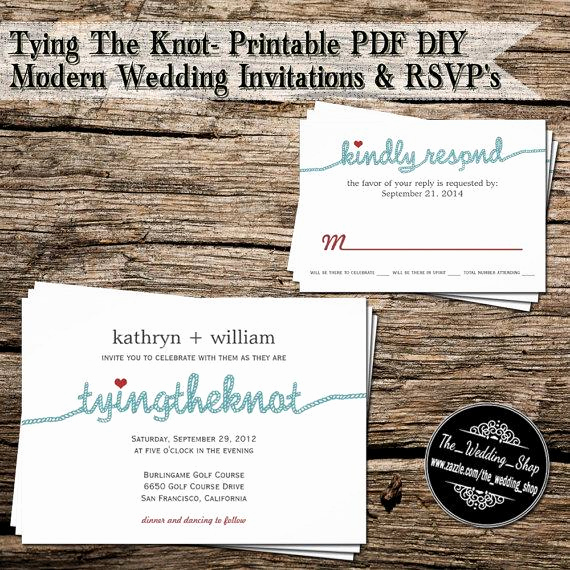 Tying the Knot Wedding Invitation Best Of Tying the Knot Printable Pdf Diy Modern Wedding