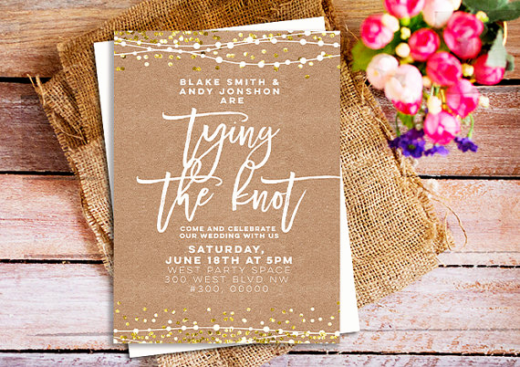 Tying the Knot Wedding Invitation Elegant Rustic Chic Wedding Invitations Tying the Knot Invitations