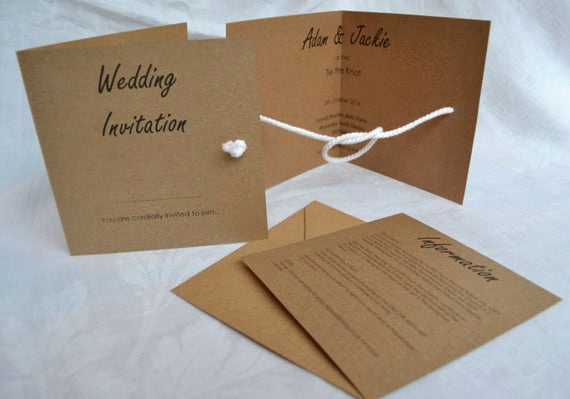 Tying the Knot Wedding Invitation Elegant Tie the Knot Wedding Invitation by Graceandbramble On Etsy