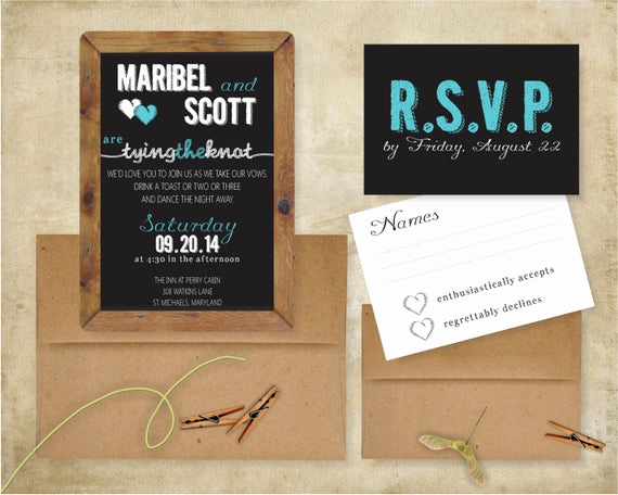 Tying the Knot Wedding Invitation Luxury Tying the Knot Chalkboard Rustic Wedding Invitation Suite 5x7