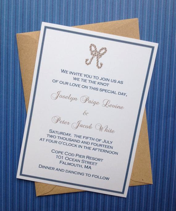 Tying the Knot Wedding Invitation New Tie the Knot or Nautical themed Wedding Invitation Bridal