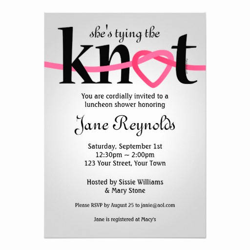"Tying the Knot Wedding Invitation Unique Tying the Knot Wedding Shower Invitation 5"" X 7"