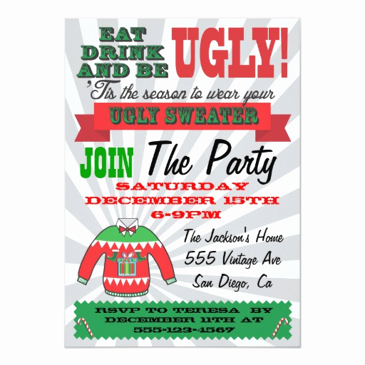 Ugly Christmas Party Invitation Awesome Ugly Sweater Christmas Party Invitations