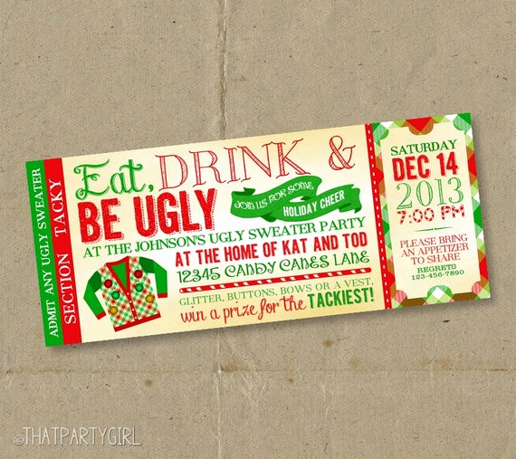 Ugly Christmas Party Invitation Beautiful 12 Ugly Sweater Invitations Christmas Party