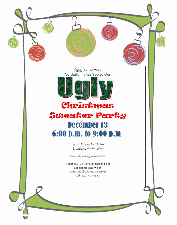 Ugly Christmas Party Invitation Beautiful Ugly Christmas Sweater Party Invitations Free Downloads