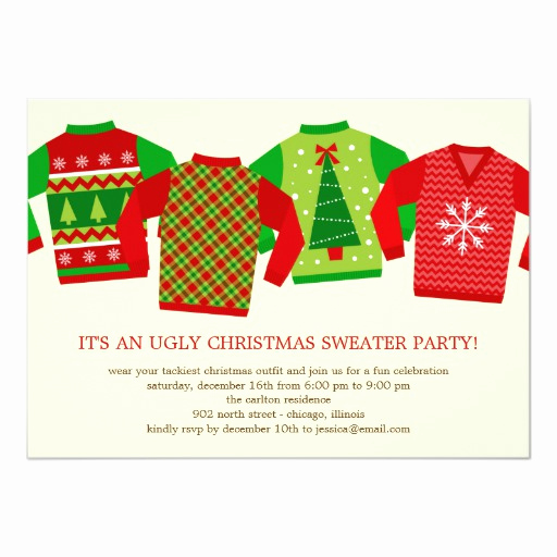 "Ugly Christmas Party Invitation Elegant Ugly Christmas Sweaters Holiday Party Invitation 5"" X 7"