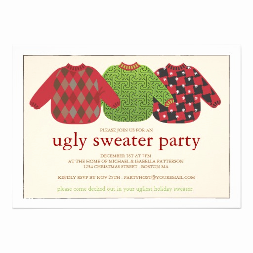 "Ugly Christmas Party Invitation Fresh Ugly Christmas Sweater Party Invitation 5"" X 7"" Invitation"