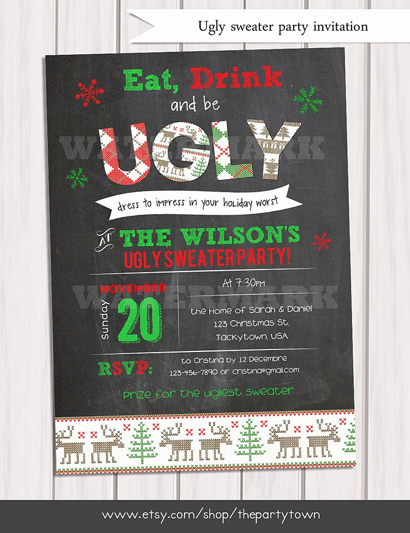 Ugly Christmas Party Invitation Lovely Christmas Ugly Sweater Invitation Holiday Party Invitation