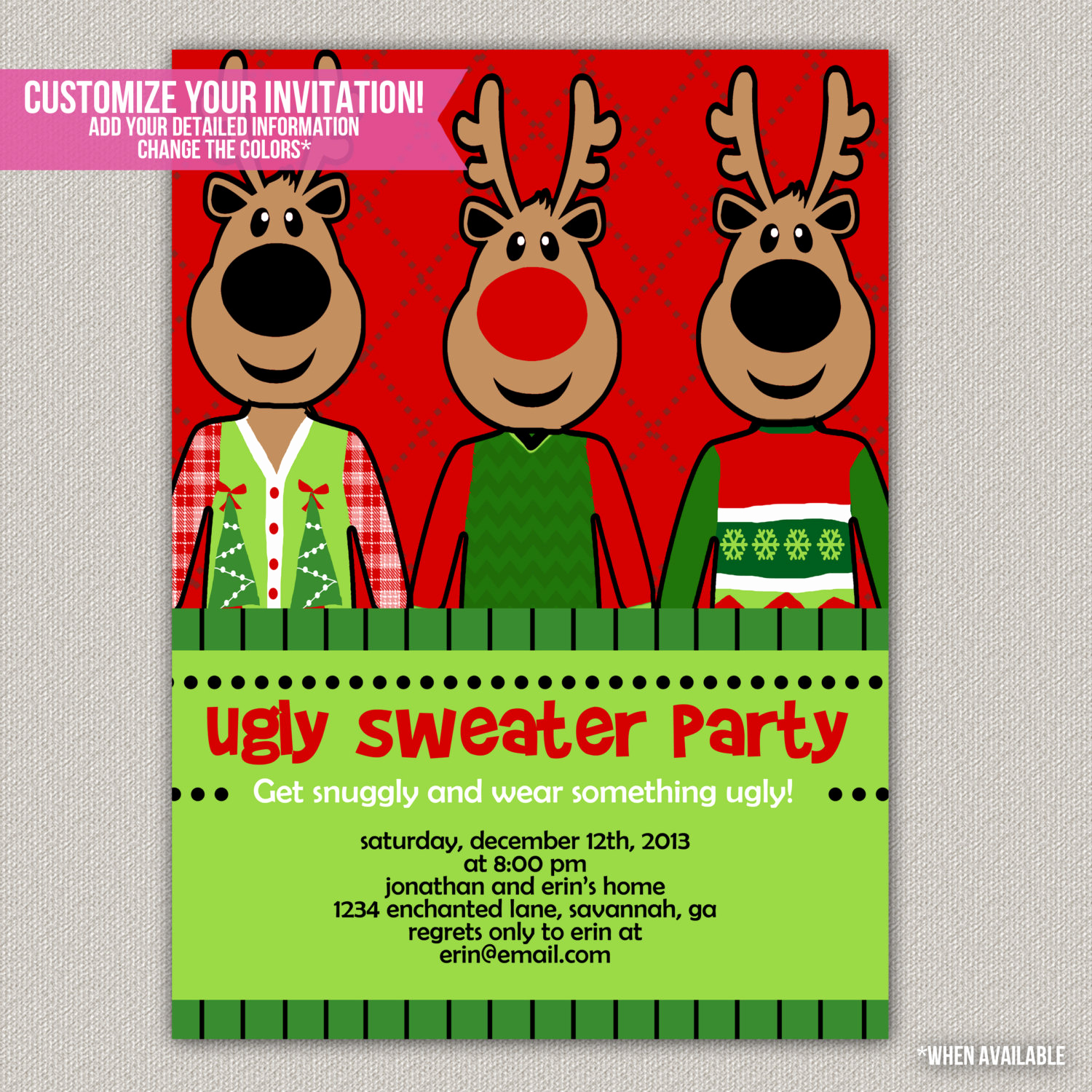 Ugly Christmas Party Invitation Luxury Ugly Sweater Party Tacky Sweater Christmas by