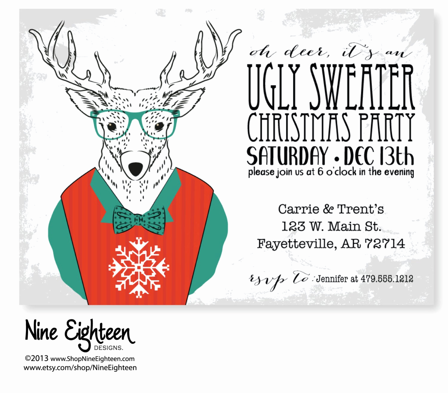 Ugly Christmas Party Invitation Unique Christmas Invitation for Ugly Sweater Party by Nineeighteen