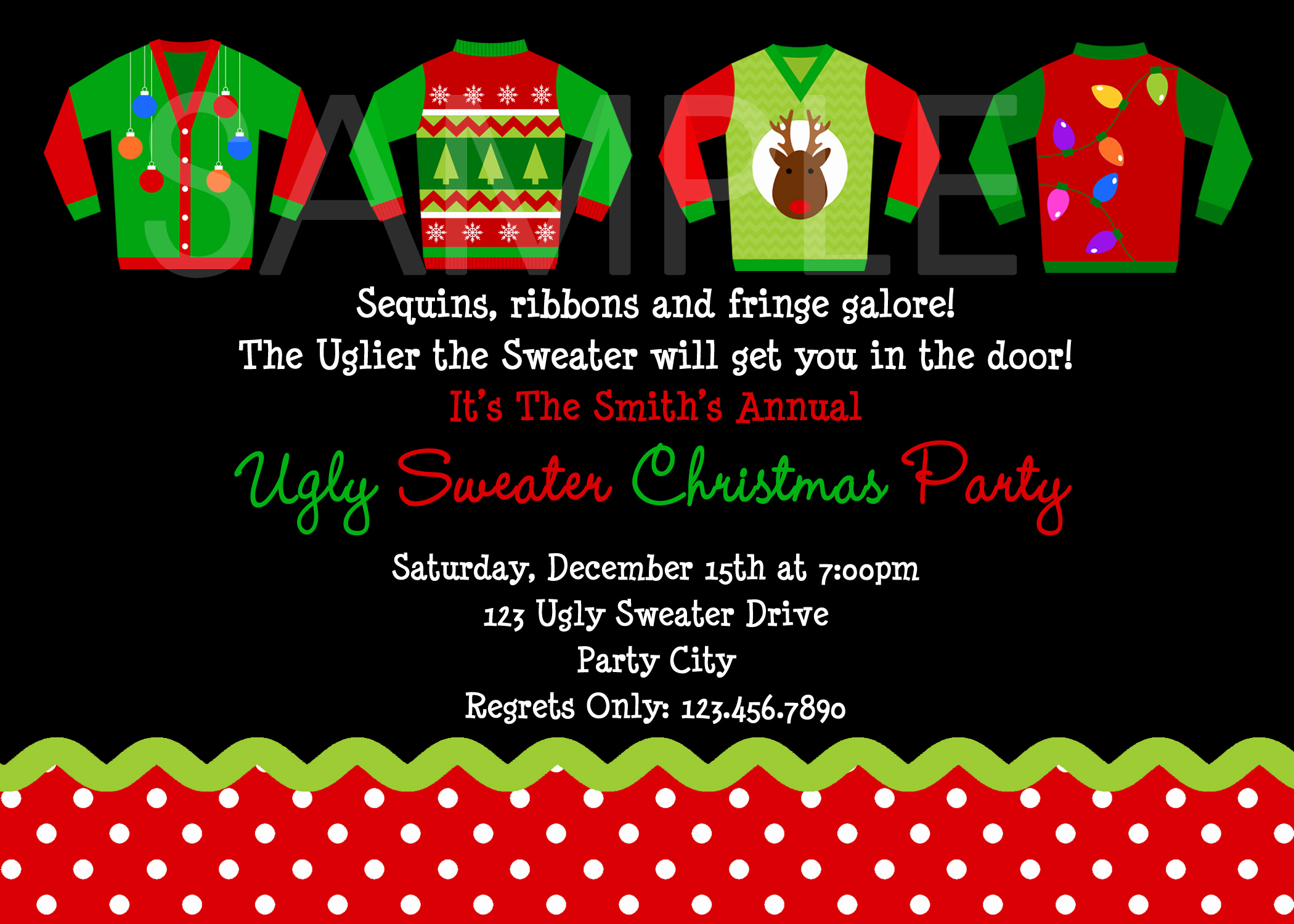 Ugly Christmas Party Invitation Unique Custom Holiday Card Print Your Own Personalized
