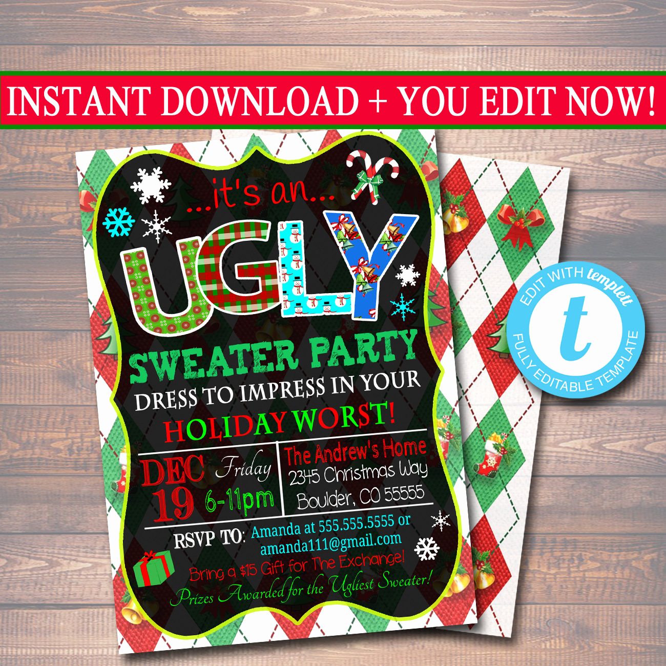 Ugly Christmas Sweater Invitation Awesome Editable Ugly Sweater Party Invitation Christmas Party