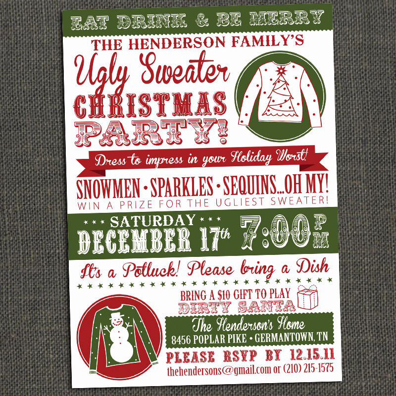 Ugly Christmas Sweater Invitation Beautiful Ugly Sweater Party Invitations