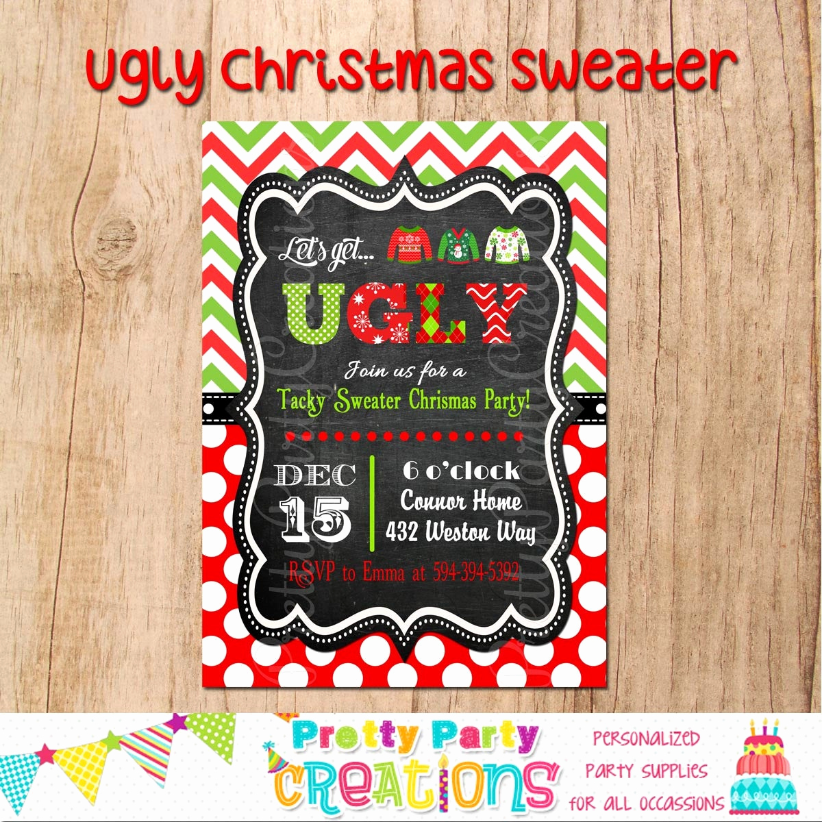 Ugly Christmas Sweater Invitation Lovely Ugly Christmas Sweater Invitation You Print