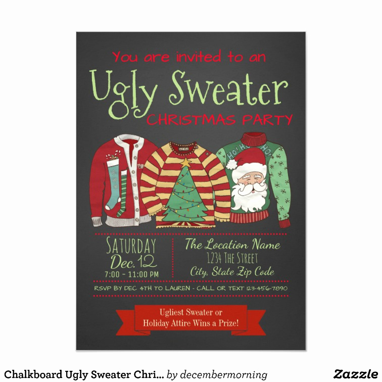 Ugly Christmas Sweater Invitation Template Awesome Chalkboard Ugly Sweater Christmas Party Invitation